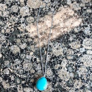 Fossil Necklace Silver with large blue stone